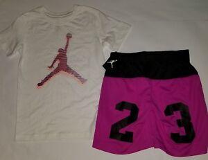 294bb2da57d610 Nike Air Jordan Girls 2 PC Set Shirt Tee   Shorts Outfit Size Small ...