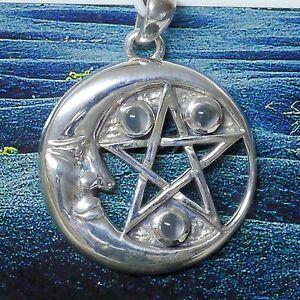 Mond Anhänger abnehmender Mond Mondstein SCHUTZ Pentagramm 925Silber Peter Stone