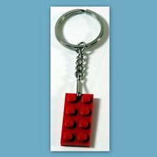 One Key Ring with chain and Lego 2x4 Red brick Plate - Party Favor, Game Prize
