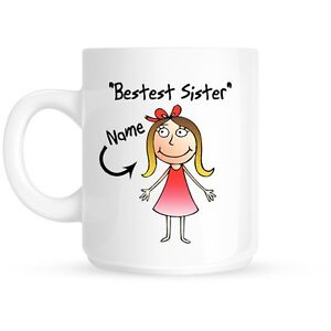 Image Is Loading Personalised Bestest Sister Happy Birthday Gift Present Coffee