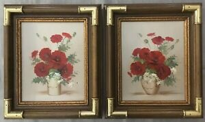 Set Of 2 Oil on Canvas Paintings Framed Signed Roberts~Red Flowers~Poppies~White