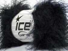 Black Super Soft Eyelash Yarn Blend - Ice 45222 Nylon 50gr 71yds -Sale!