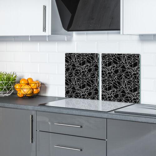 Glas-Herdabdeckplatte Ceranfeldabdeckung Spritzschutz 2x40x52 weiß geometrisches