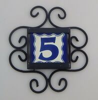 Mexican House Number Talavera Tile Home Address & Horizontal Iron Frame Blue