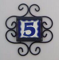 Mexican House Number Talavera Tile Home Address & Horizontal Iron Frame Blue