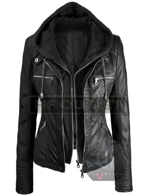 New Women's Black Biker Motercycle Stylish Real Leather Jacket - Detach Hoodie