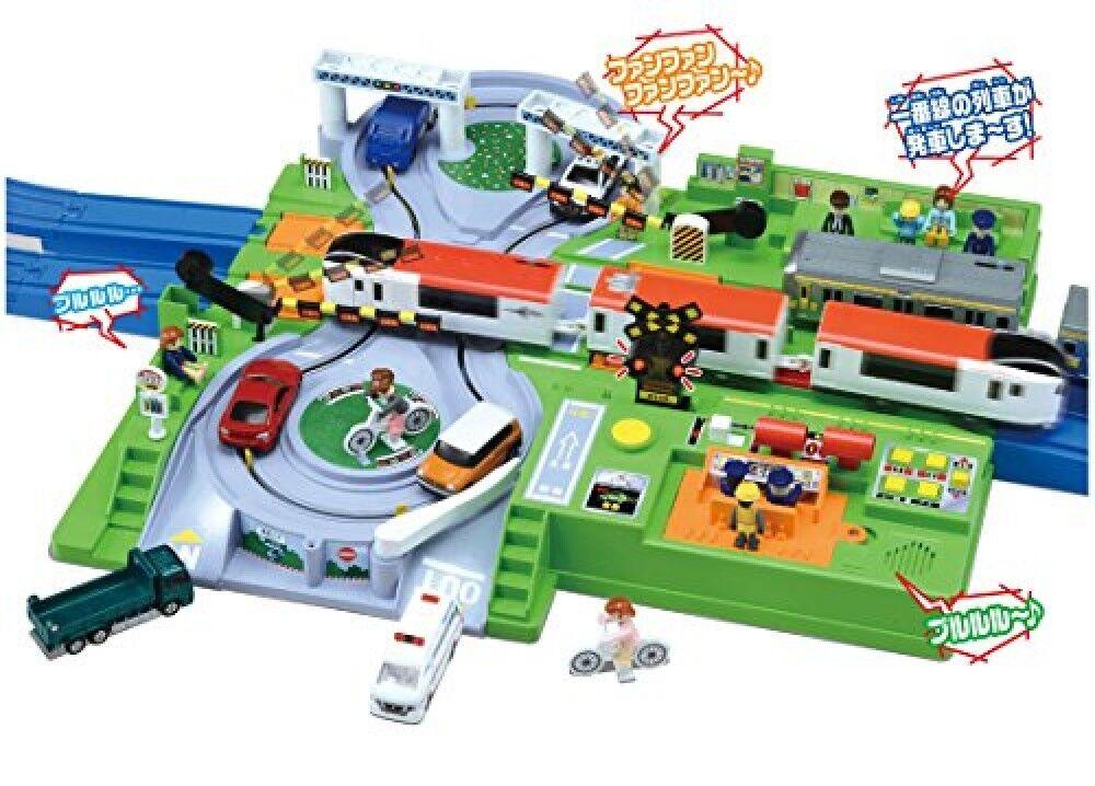 Plarail jugar con Tomica DX Railroad Crossing desde Japón Station