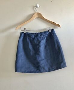Ladies-H-amp-M-Suede-Look-High-Waisted-Mini-Skirt-Light-Blue-Party-Or-Casual-Look