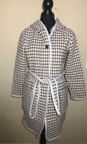 Woolrich Manteau Doppio Nwt Plaid imprimé imprimé en Hood New duvet blanc gris XEq57xww