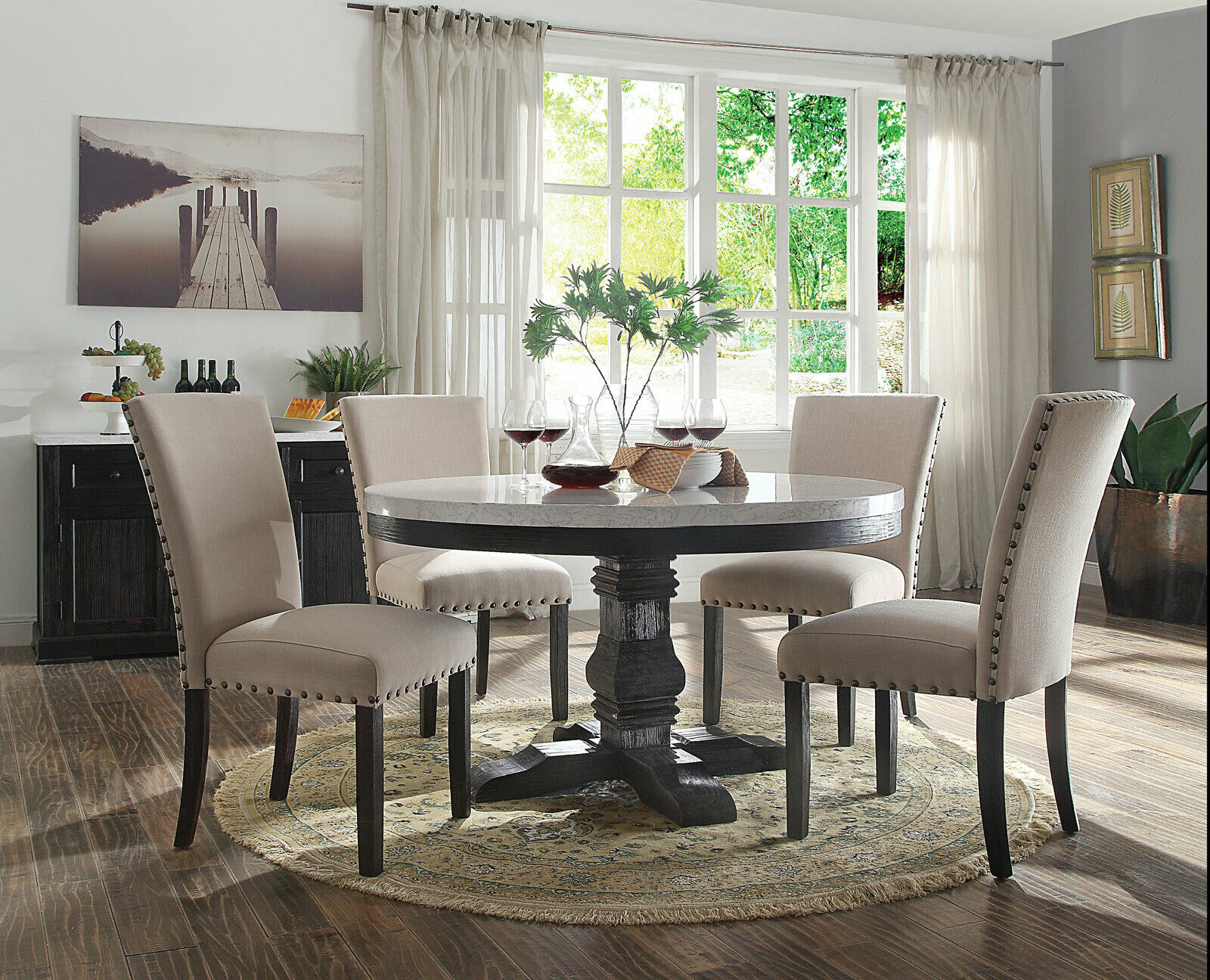 Modern Design 5pcs Dining Room Set Round White Marble Table Beige Chairs Acm For Sale Online
