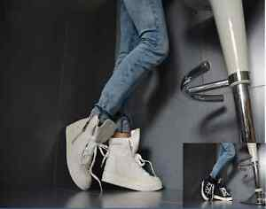 Neu Sexy Damenschuhe Trendy Party Sneaker Keilabsatz Reißverschluss Weiß Schwarz