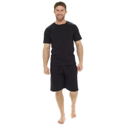 Octave Mens Plain Cotton Henley Neck T-Shirt /& Shorts Summer Pyjama Lounge Set