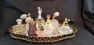 Beautiful-Vintage-Perfume-Bottle-Lot-of-8-With-Vintage-Vanity-Tray