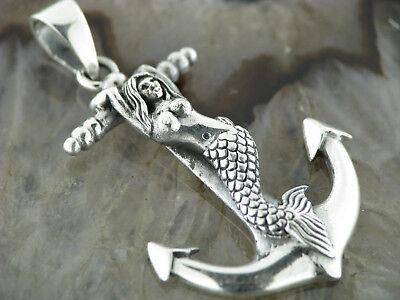 Old School Silber Kettenanhänger Anker im Steuerrad Anchor Maritim 925er Silber