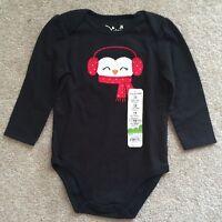 Jumping Beans Girl's Penguin Black Cotton Bodysuit - Size 12 Mos -