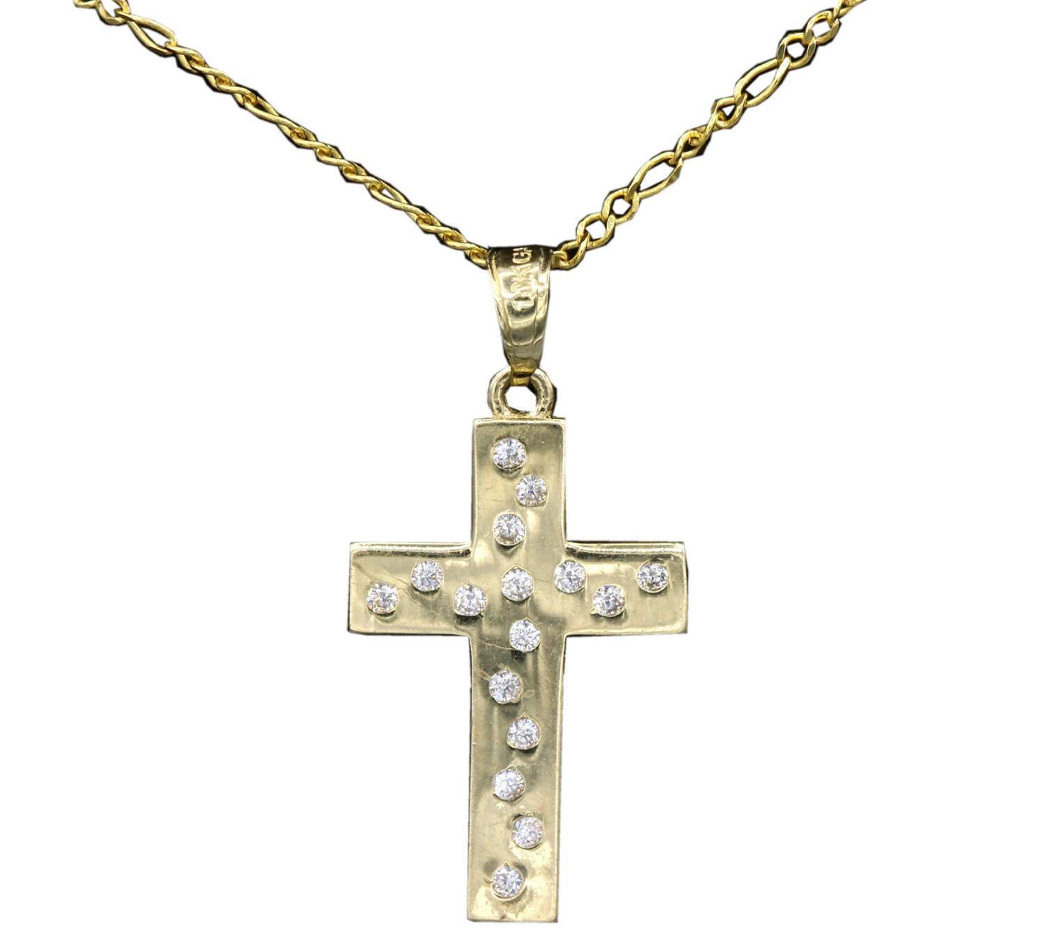 10k Solid Yellow gold Cross Charm CZ Pendant. With gold Chain