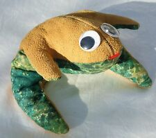 Vtg Frog Leather Bean Bag Stuffed Animal - Googly Eye Amphibian