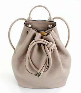 7078505ac6d1 Image is loading Michael-Kors-Dalia-Leather-Cement -Beige-Drawstring-Backpack-