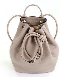 585602adebf1 Image is loading Michael-Kors-Dalia-Leather-Cement-Beige -Drawstring-Backpack-