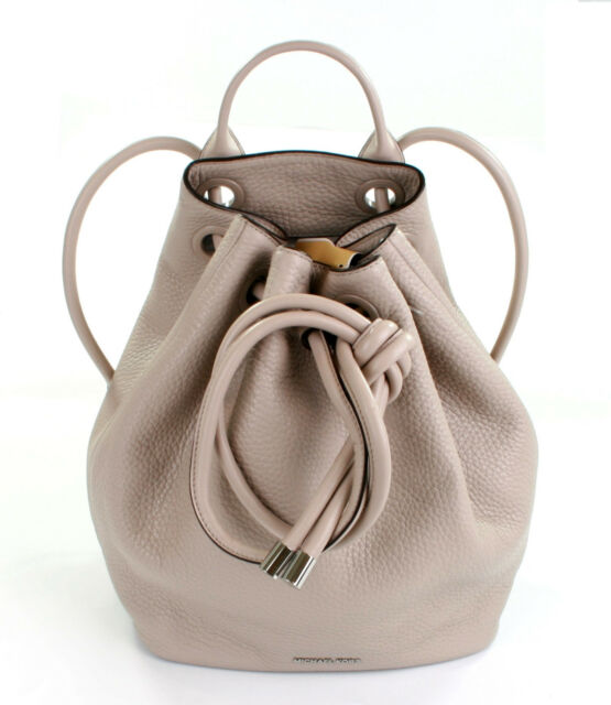 3d342a3d2312 Michael Kors Dalia Leather Cement Beige Drawstring Backpack Bag Large