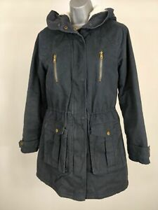 WOMENS-NEW-LOOK-NAVY-BLUE-PARKA-COAT-JACKET-HOODED-UK-10