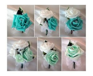 Image Is Loading Wedding Onholes And Corsages Tiffany Blue Mint Green