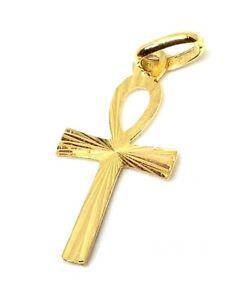 Pendentif or jaune massif 18k 750% Croix Egyptienne Ânkh