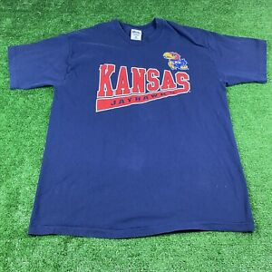 Vintage-90-039-s-Pro-Player-Kansas-Jayhawks-Size-XXL-Men-039-s-T-Shirt-Blue-Graphic