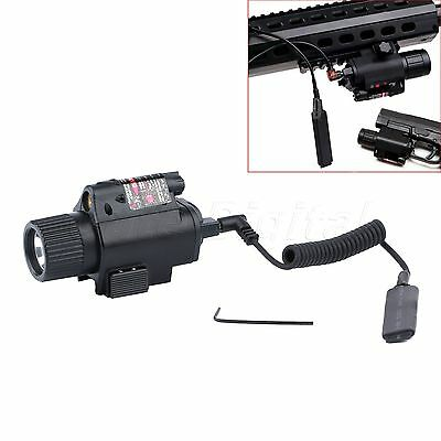Tactical Combo CREE LED Flashlight Torch + Red Laser Sight Scope 20mm Rail Mount