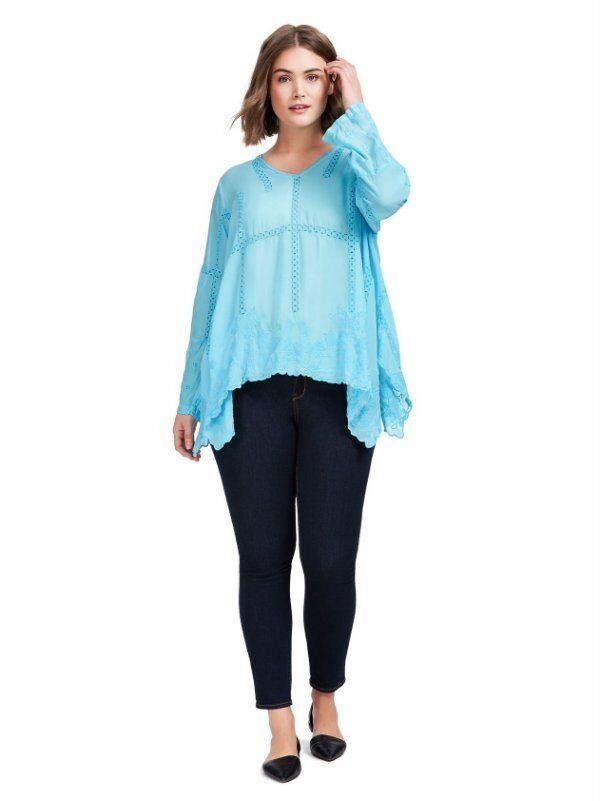 NEW JOHNNY WAS VIBRANT Blau CAGE FLARE EMBROIDErot TUNIC TOP SHIRT BLOUSE M
