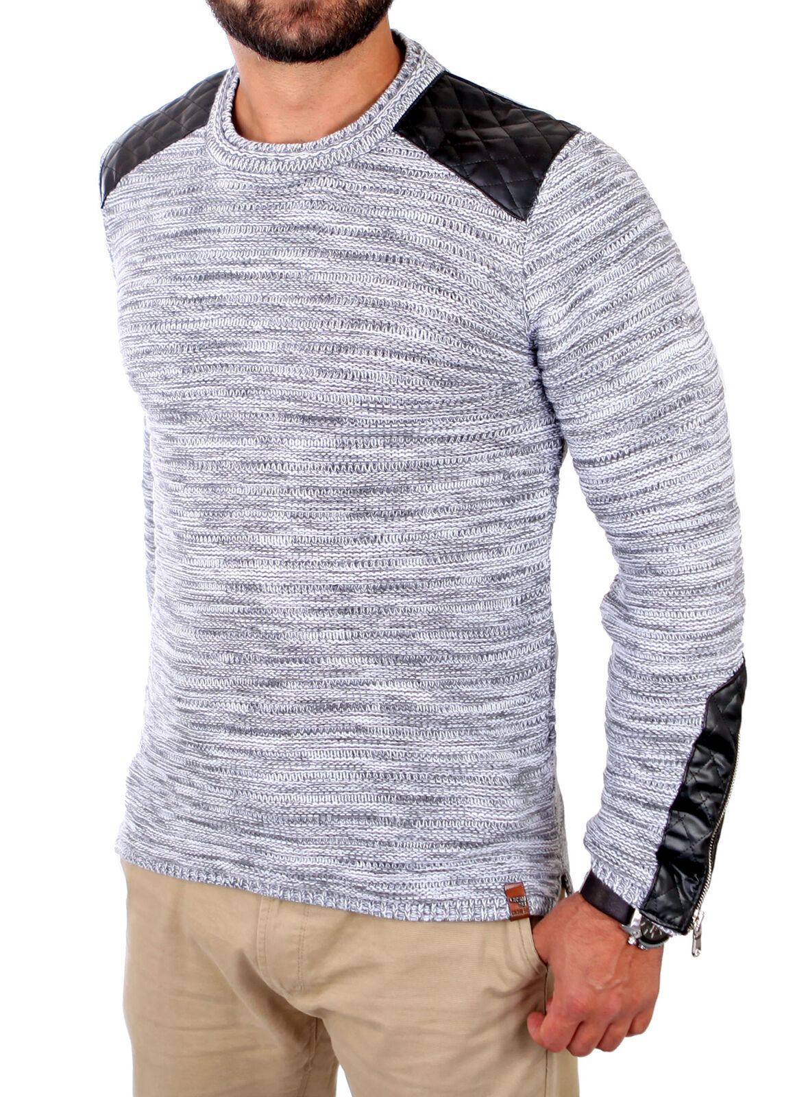 ... CARISMA pull tricoté Hommes NEUF Cuir synthétique patch Capuche CRSM -  7308 NEUF Hommes 7bc2ea ... 40aa05efe78a
