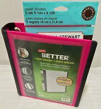 "Staples Better Mini Binder, 5.5"" x 8.5"" with 5 Tab Martha Stewart Paper Dividers"