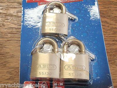 BRASS PADLOCK MARINE BOAT TRAILER LOCK 3PAC 195-56413 SET OF 3 LOCKS ABUS BOAT