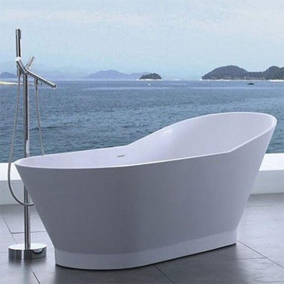 ADM Standing Solid Surface Soaker Bathtub 66 X 30 Matte White Sw-118 ...