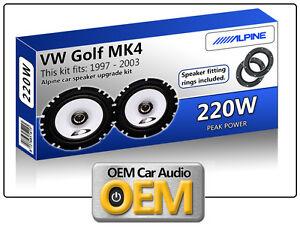 VW-Golf-MK4-Front-Door-speakers-Alpine-car-speaker-kit-with-Adapter-Pods-220W