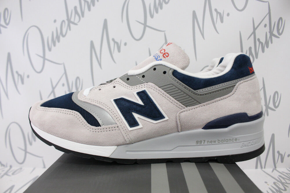 NEW BALANCE 997 MADE IN USA SZ 13 LIGHT GREY NAVY BLUE M997WEB