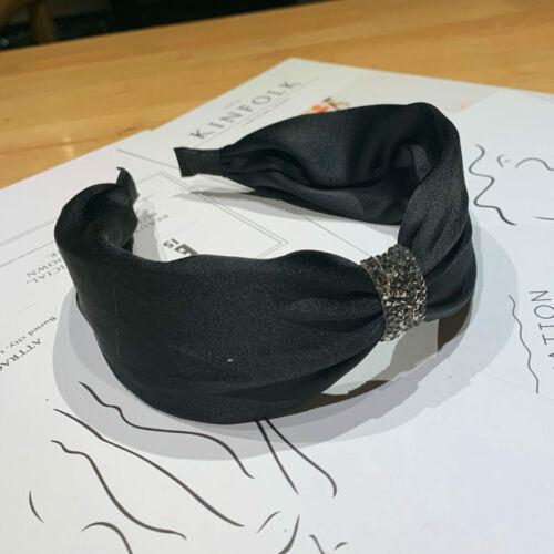 Turban Hoop Women Knotted Headband Hairband Side Bezel Rhinestone Wide Hair