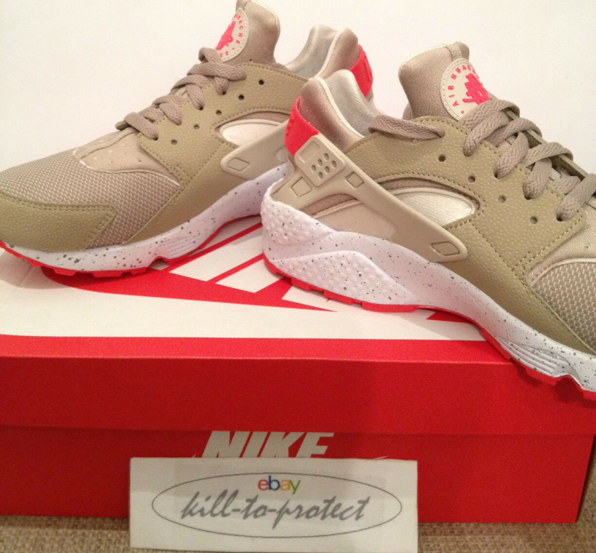 NIKE AIR HUARACHE BEIGE CRIMSON  12  UK 7 8 9 10 11 12  Laser QS 318429-226 2014 61f1c7