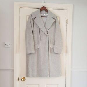 H M Oversized grey masculine style coat Wool Blend Size UK 10  54aeec85c85