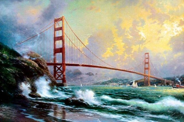Thomas Kinkade Golden Gate Bridge San Francisco 12x18 Framed Classic Edition