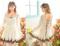 Dolly Cute Sweet Gothic Punk Lolita Princess Long Sleeve Lace Onepiece Dress