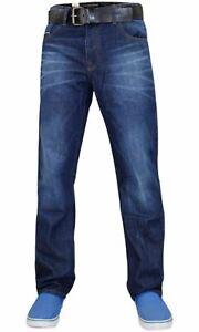Crosshatch-Para-Hombres-Calce-Recto-Pantalones-Pantalones-Vaqueros-Algodon-Regular-Denim-correa