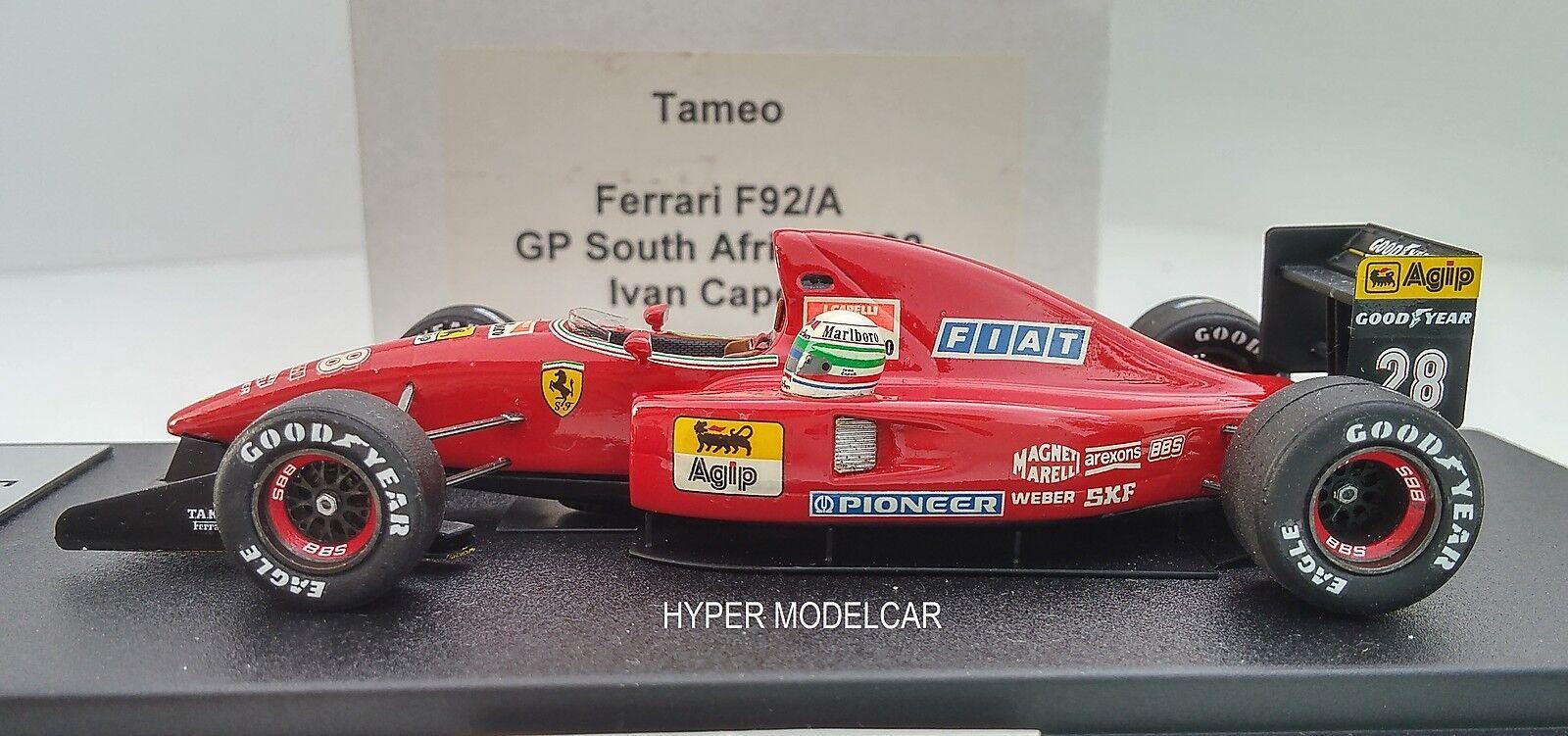 Tameo kit 1   43 formel - 1 - ferrari f92a   28. gp südafrika 1992 capelli - mit helm.