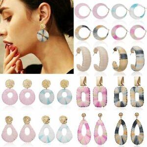 Fashion-Women-Handmade-Raffia-Braided-Earrings-Geometric-Dangle-Hoop-Ear-Stud