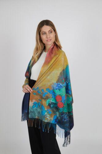 Multicoloured Super Soft Wool Fringed Scarf Shawl /& Raspberries Design Wrap
