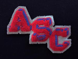 VINTAGE-1960-039-S-1970-039-S-SCHOOL-FOOTBALL-LETTERS-RED-AND-BLUE-PATCH-8-034-X-6-034