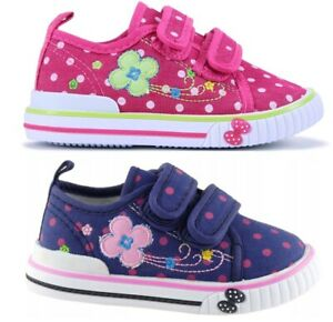 SPRING SUMMER girls canvas shoes trainers size 7 UK BABY INFANT Toddler NEW