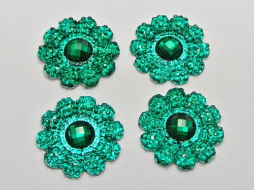 50 Green Acrylic Flatback Dotted Sunflower Rhinestone Gems 22mm No Hole