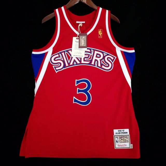 9f53d2db6a8 100% Authentic Mitchell & Ness Allen Iverson Sixers Red NBA Jersey Size 44 L