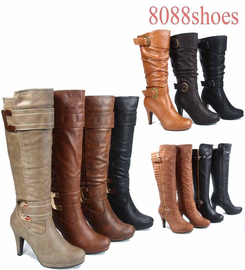 Women's Platform Zipper Buckle High Heel Mid Calf Knee High Boot  Size 5 -10 NEW
